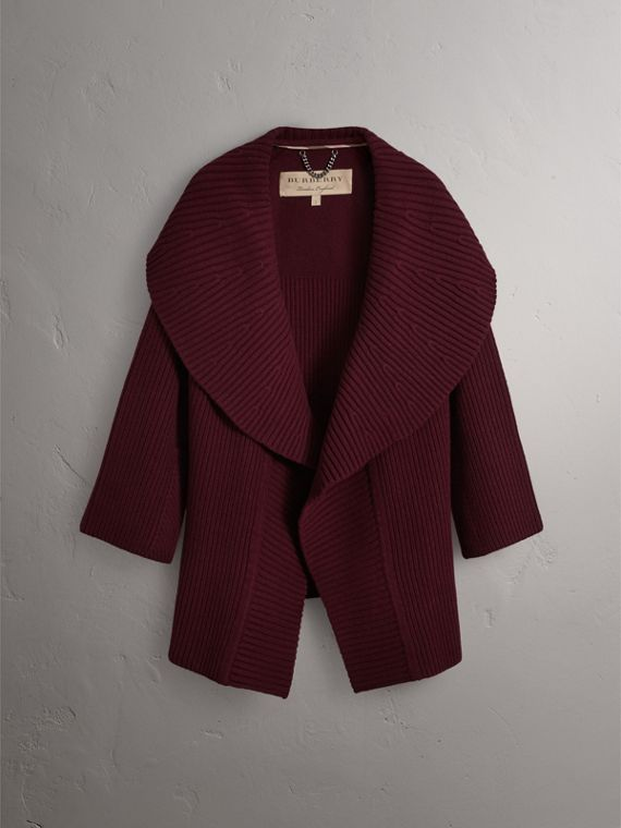 Ribbed Wool Cashmere Cardigan Coat in Burgundy - Women | Burberry - cell image 3