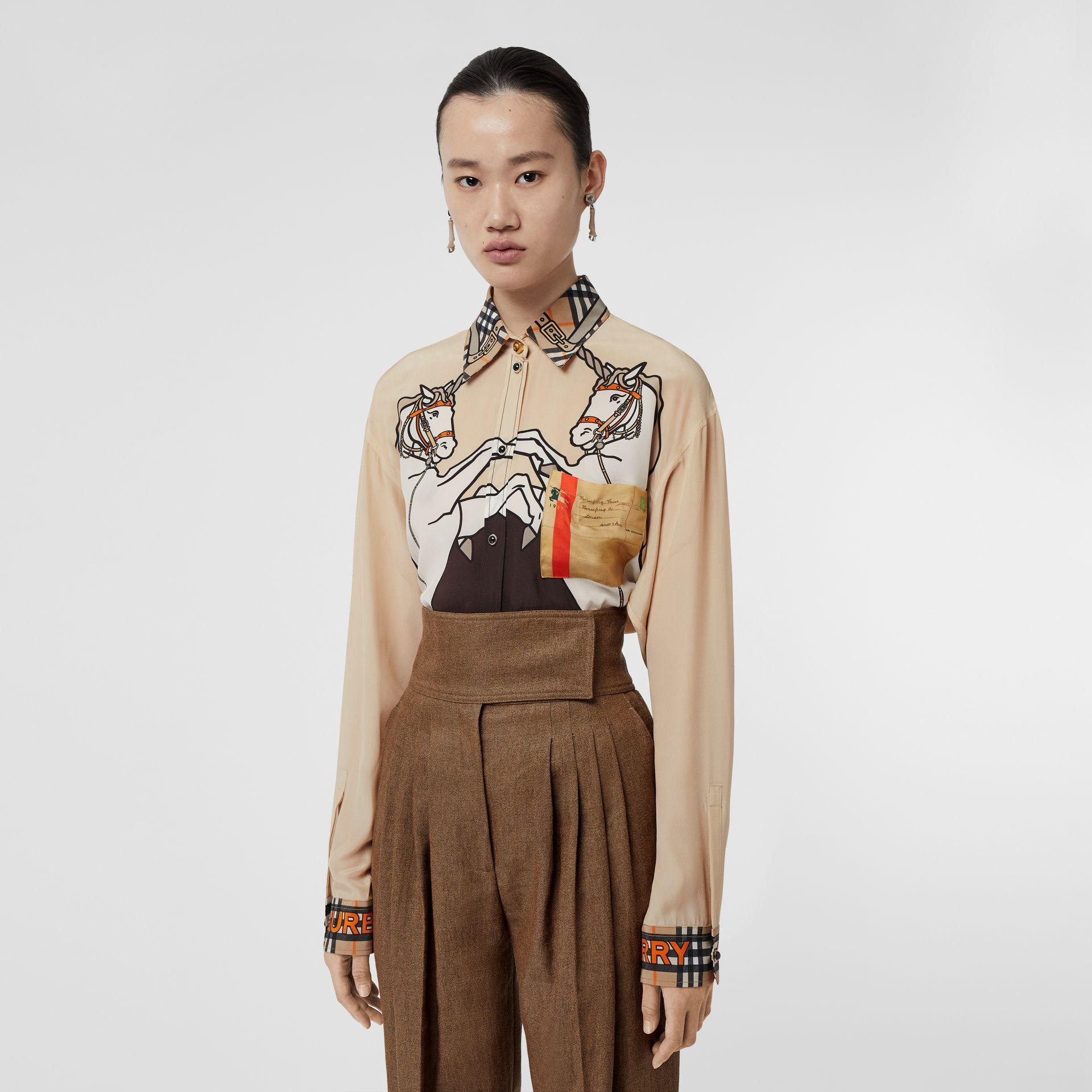Unicorn Print Silk Shirt in Light Camel - Women | Burberry United Kingdom - gallery image 0