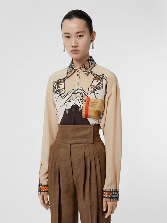 Unicorn Print Silk Oversized Shirt in Light Camel