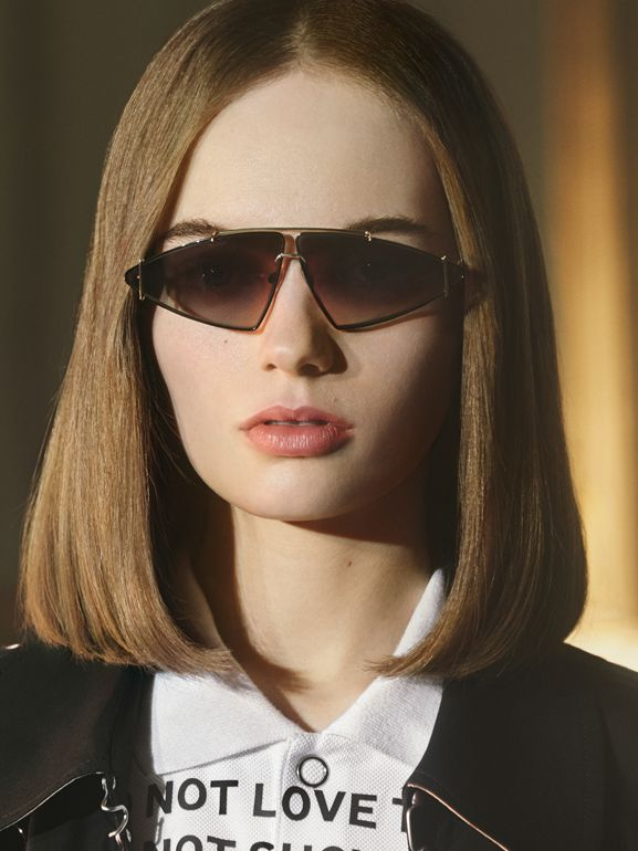 Gold-plated Triangular Frame Sunglasses in Black - Women | Burberry Singapore - cell image 1