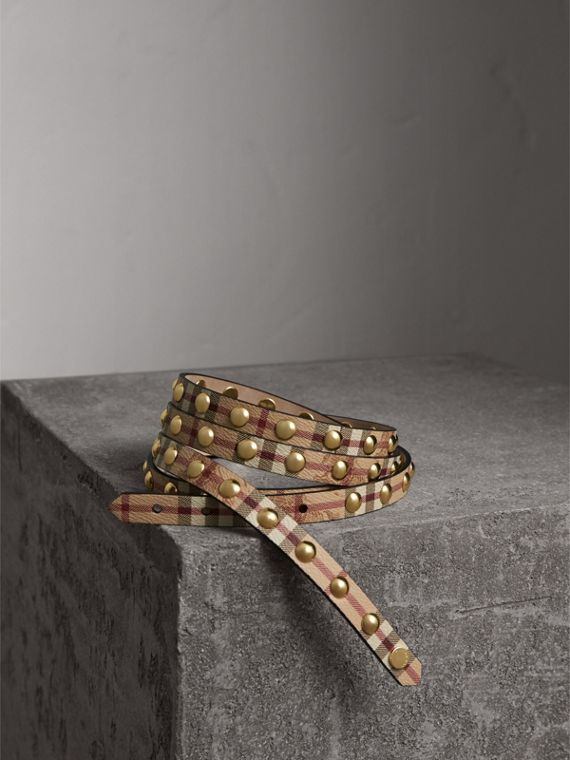 Studded Haymarket Check Double-wrap Belt - Women | Burberry