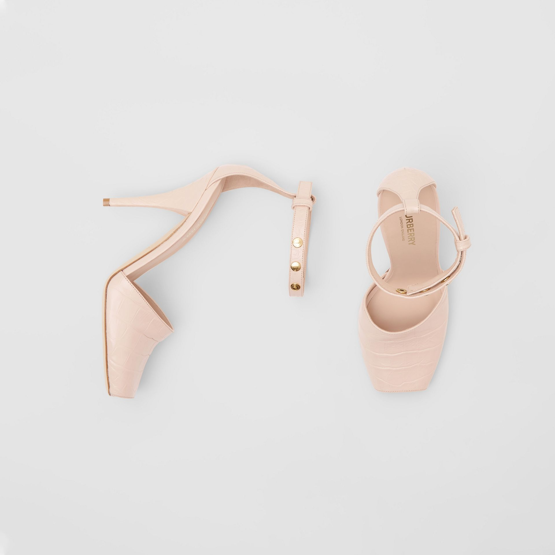 Triple Stud Embossed Leather Peep-toe Sandals in Rose Beige - Women | Burberry - gallery image 0