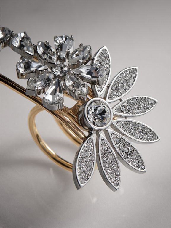 Crystal Daisy Gold-plated Double Ring - Women | Burberry - cell image 1
