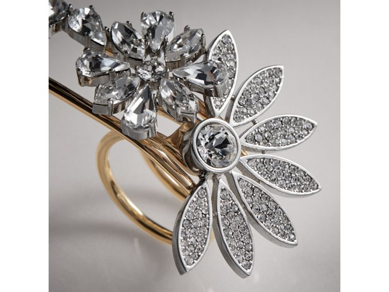 Crystal Daisy Brass Double Ring - Women | Burberry - cell image 1