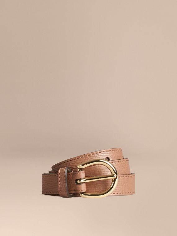 Grainy Leather Belt Dark Sand