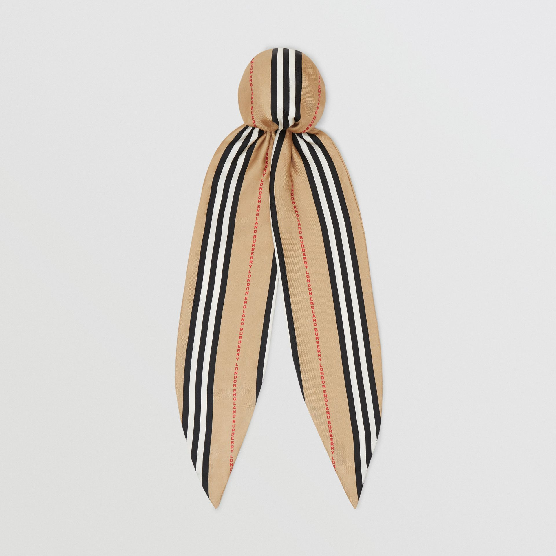 Icon Stripe Print Silk Hair Scarf in Archive Beige - Women | Burberry United States - gallery image 0