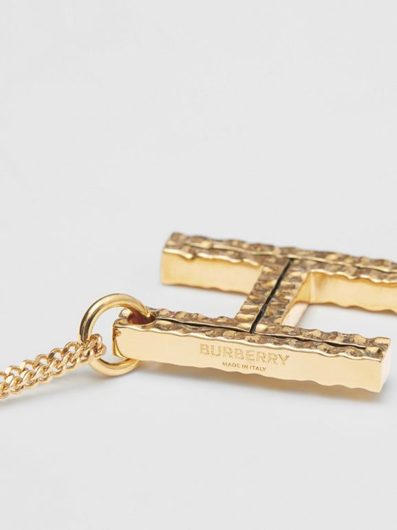 'H' Alphabet Charm Gold-plated Necklace in Light - Women | Burberry United Kingdom - cell image 1