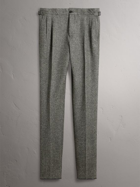 Soho Fit Herringbone Wool Trousers in Black/white - Men | Burberry - cell image 3
