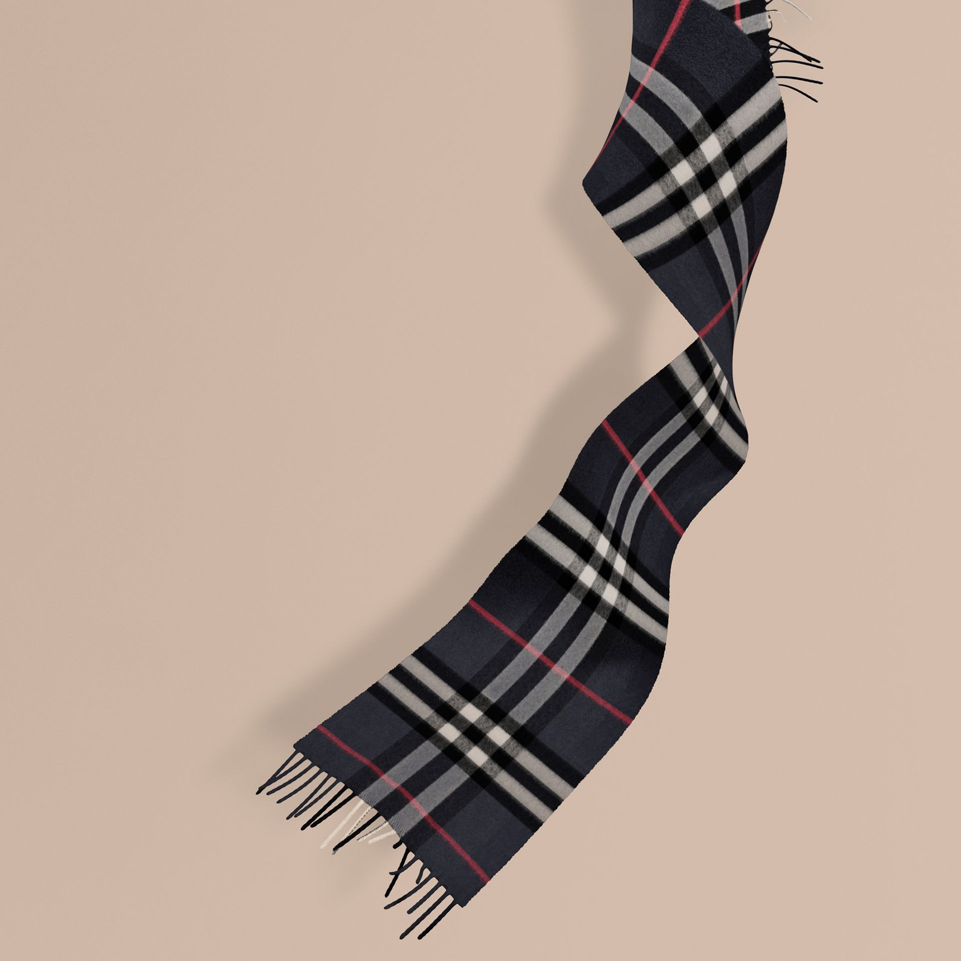 Navy The Mini Classic Cashmere Scarf in Check Navy - gallery image 1