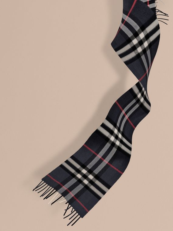 The Mini Classic Cashmere Scarf in Check in Navy | Burberry