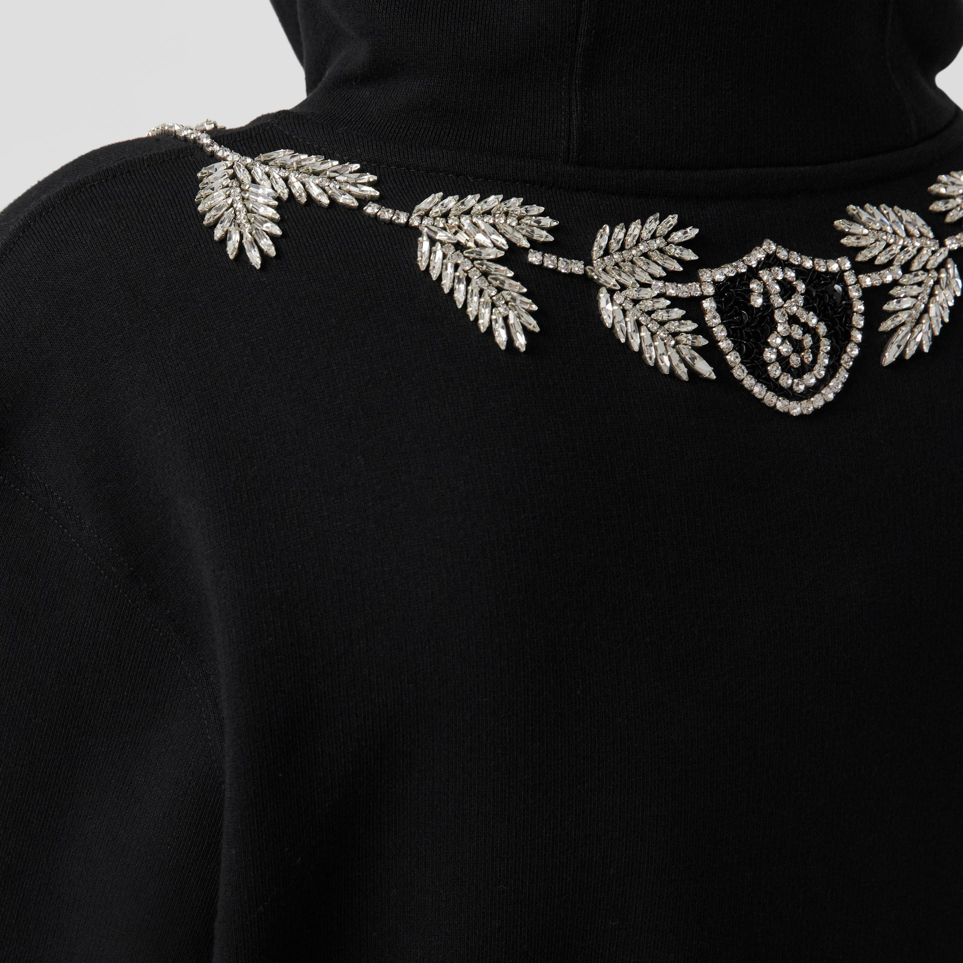 Embellished Cotton Oversized Hoodie in Black - Women | Burberry - gallery image 4