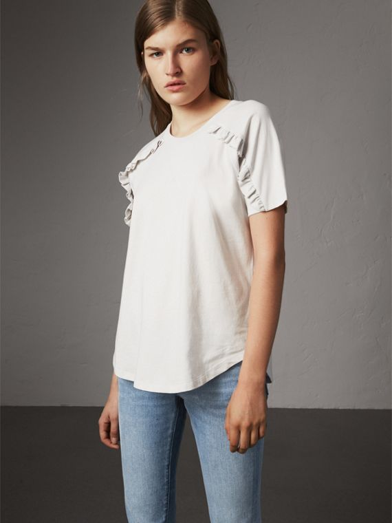Ruffle Detail Cotton Jersey T-shirt in Winter White