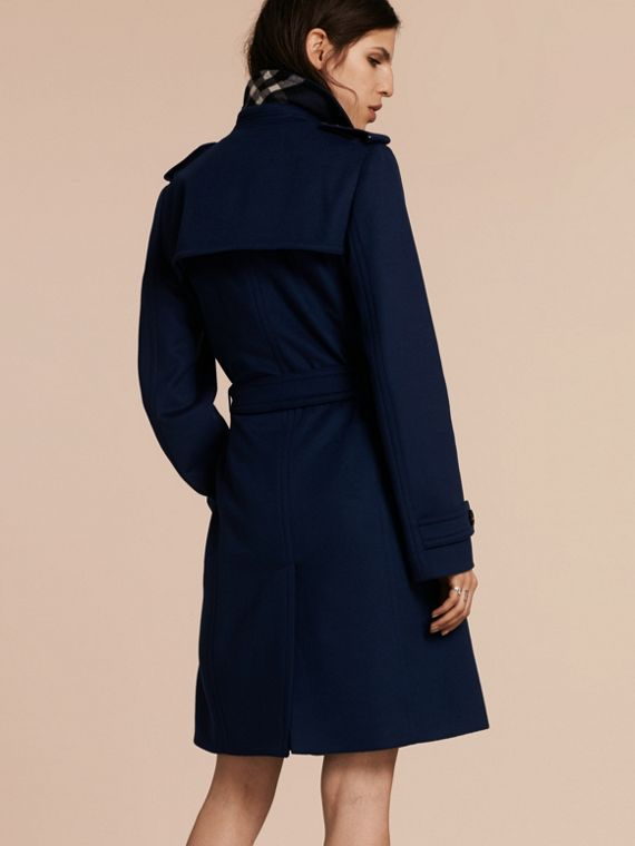 Bleu empire Trench-coat portefeuille en laine et cachemire - cell image 2
