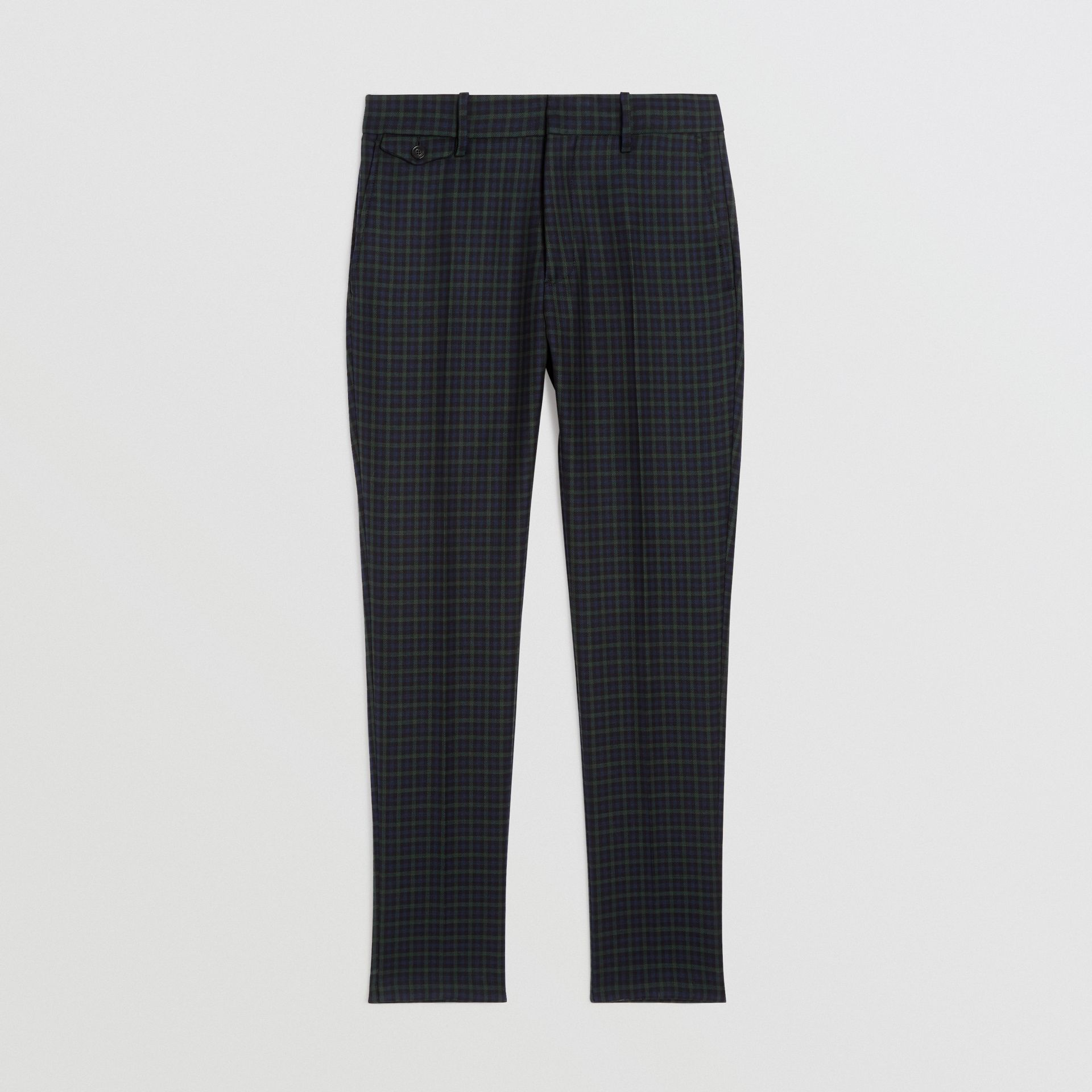 Slim Fit Tartan Wool Tailored Trousers in Navy - Men | Burberry - gallery image 3
