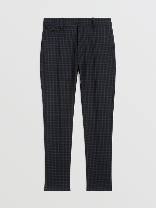 Slim Fit Tartan Wool Tailored Trousers in Navy - Men | Burberry United States - cell image 3