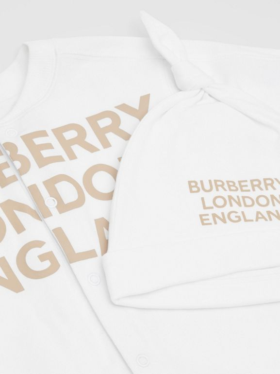 Logo Print Organic Cotton Two-piece Baby Gift Set in White - Children | Burberry United Kingdom - cell image 1