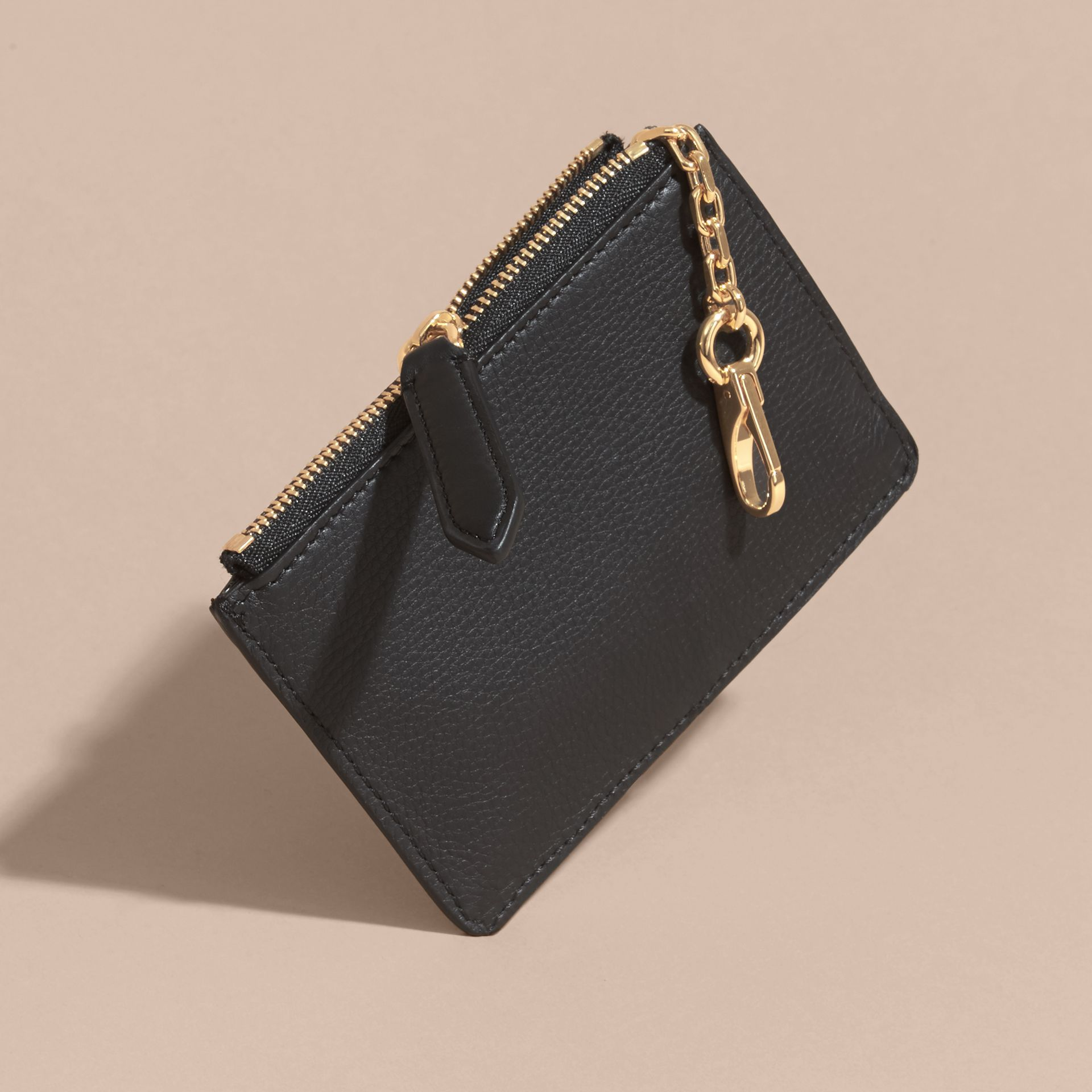 Riveted Grainy Leather Zip-top Wallet - gallery image 4