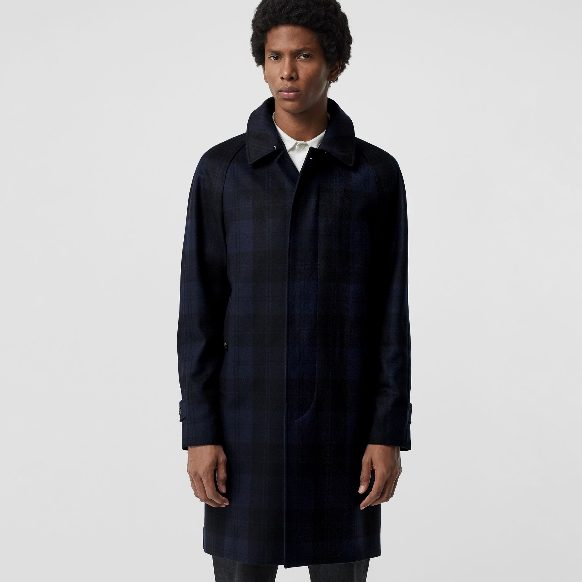 Check Cashmere Car Coat in Navy - Men | Burberry - gallery image 5