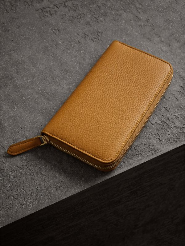 Embossed Leather Ziparound Wallet in Ochre Yellow - Women | Burberry - cell image 2