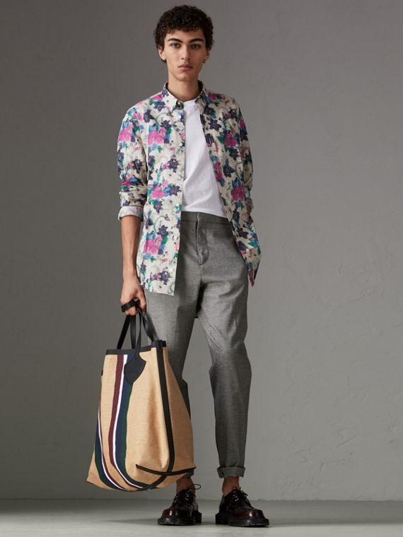 Watercolour Floral Print Shirt in Natural
