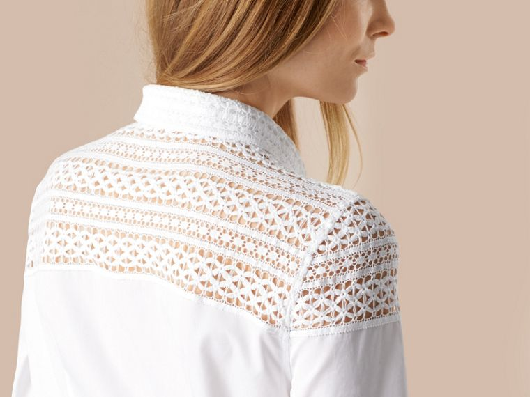 White Macramé Lace Detail Cotton Shirt - cell image 4