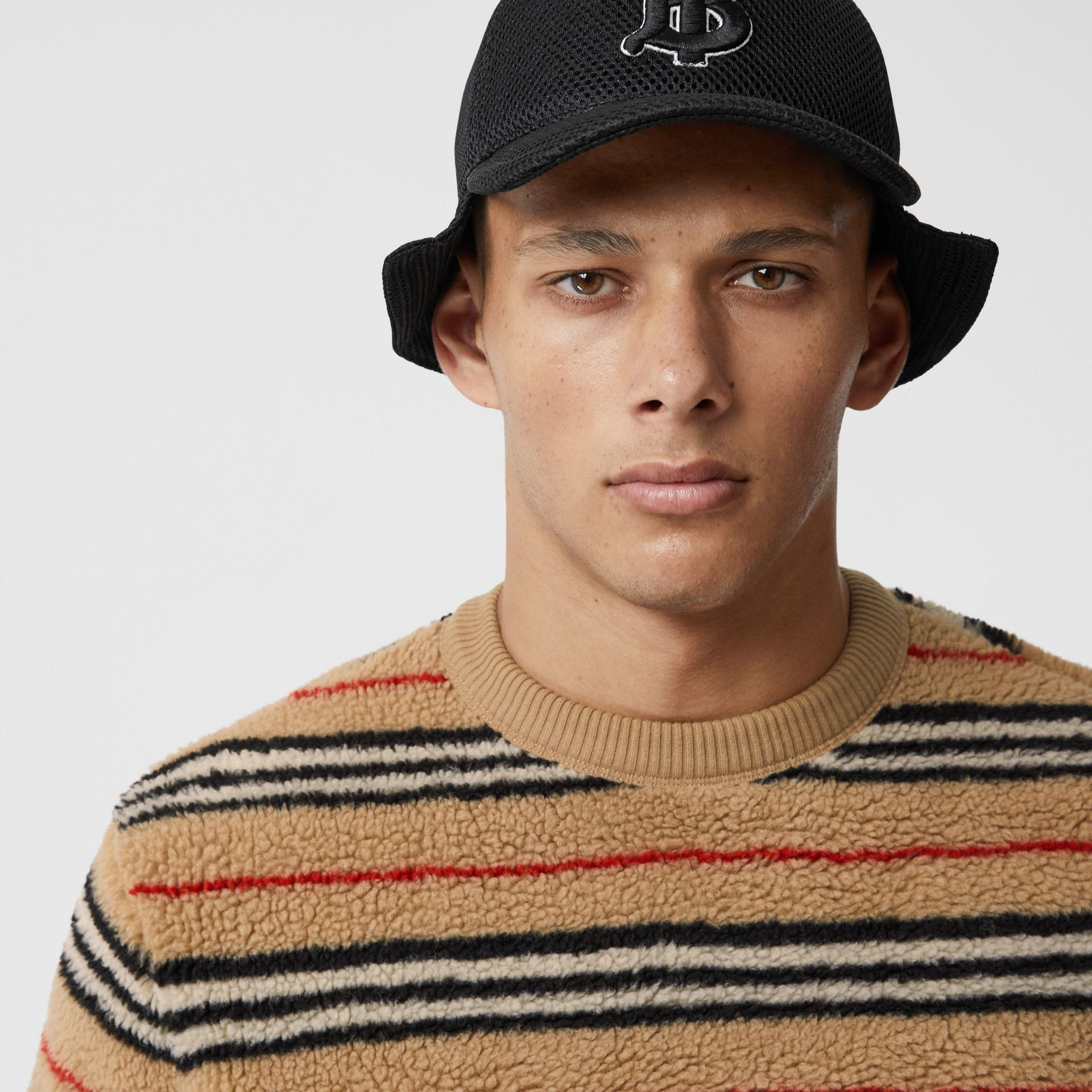 Icon Stripe Fleece Sweatshirt in Archive Beige - Men | Burberry - gallery image 1