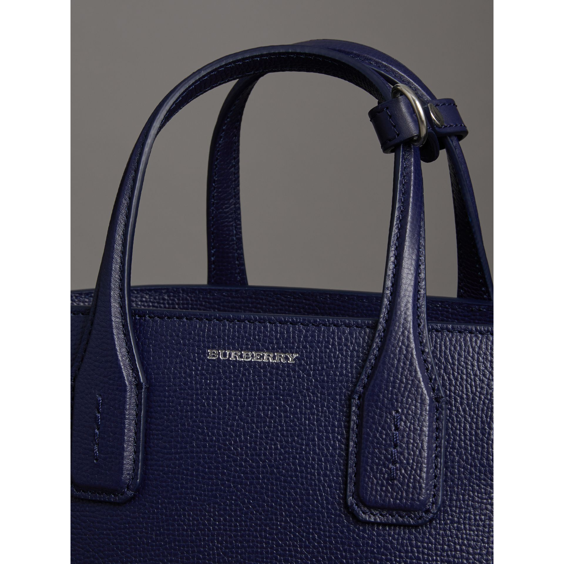 The Small Banner in Leather and Vintage Check in Regency Blue - Women | Burberry Australia - gallery image 1