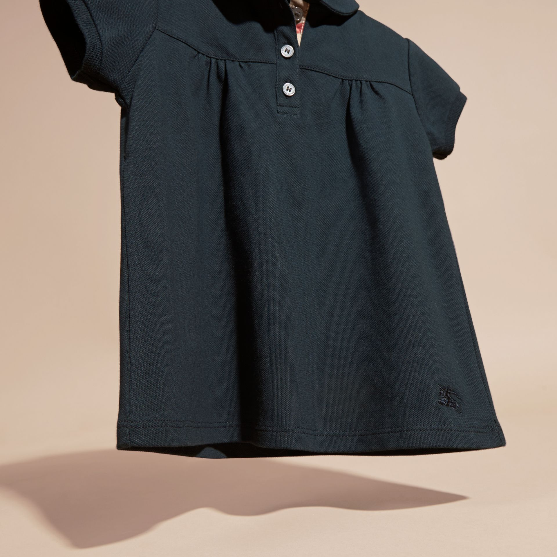 Navy Ruched Detail Stretch Cotton Polo Shirt Navy - gallery image 3
