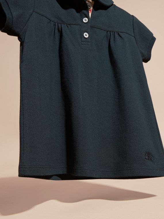 Navy Polo in cotone stretch con arricciature - cell image 2