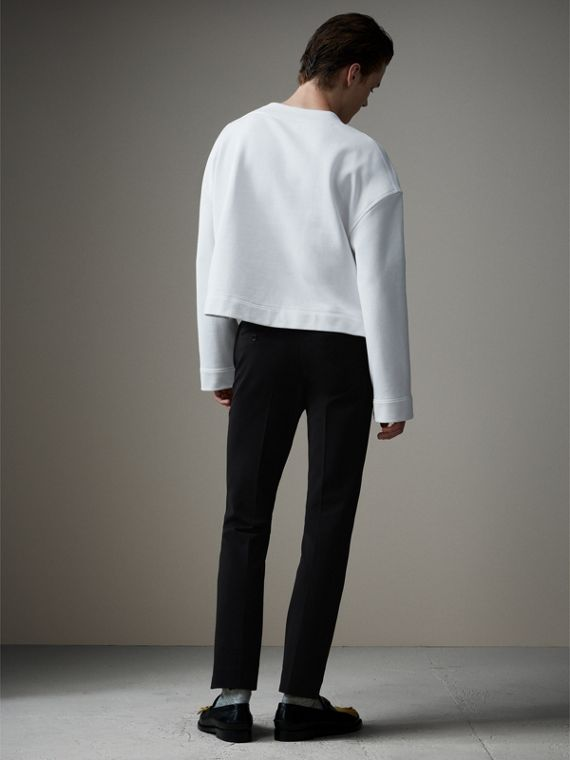 Jersey Cropped Tailored Riding Trousers in Black - Men | Burberry Australia - cell image 2