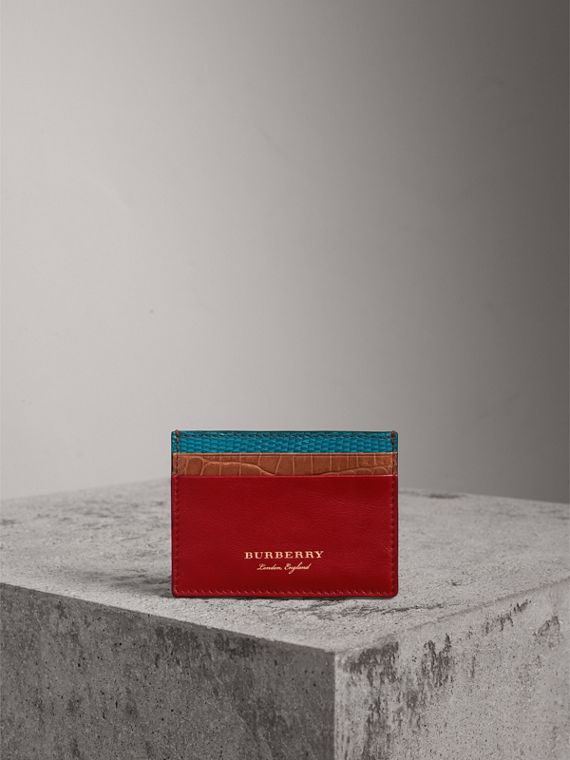 Leather, Lizard and Alligator Card Case in Deep Red - Men | Burberry Canada - cell image 3