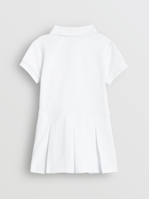 EKD Logo Cotton Polo Dress in White - Children | Burberry United Kingdom - cell image 3