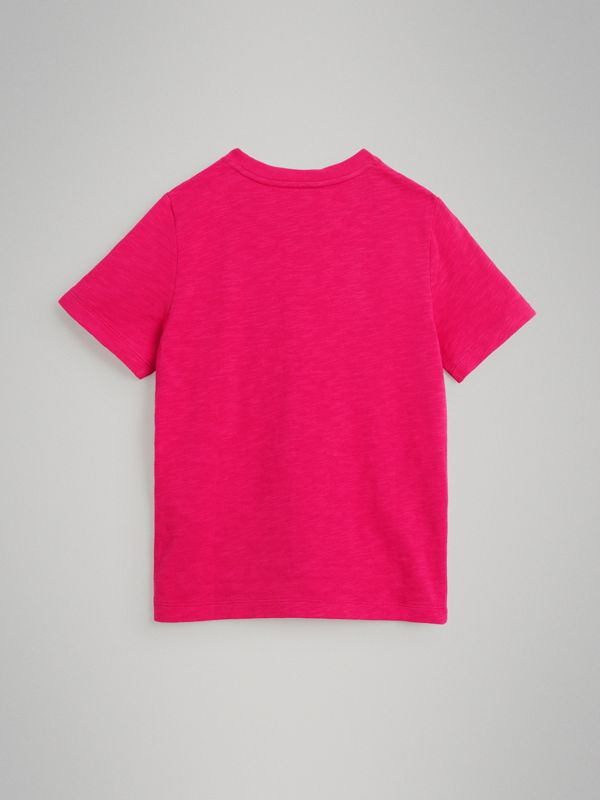 Logo Print Cotton T-shirt in Raspberry Pink | Burberry - cell image 3