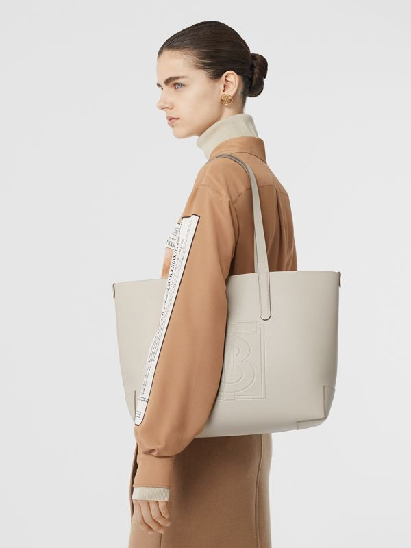 Embossed Monogram Motif Leather Tote in Limestone - Women | Burberry Australia - cell image 2