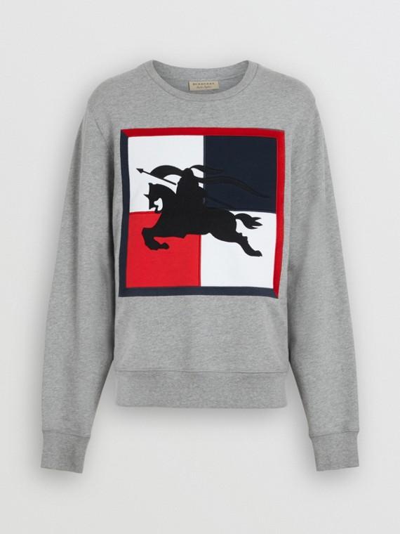 Felpa in cotone con motivo a quadri e logo del cavaliere equestre (Grigio Pallido Mélange)