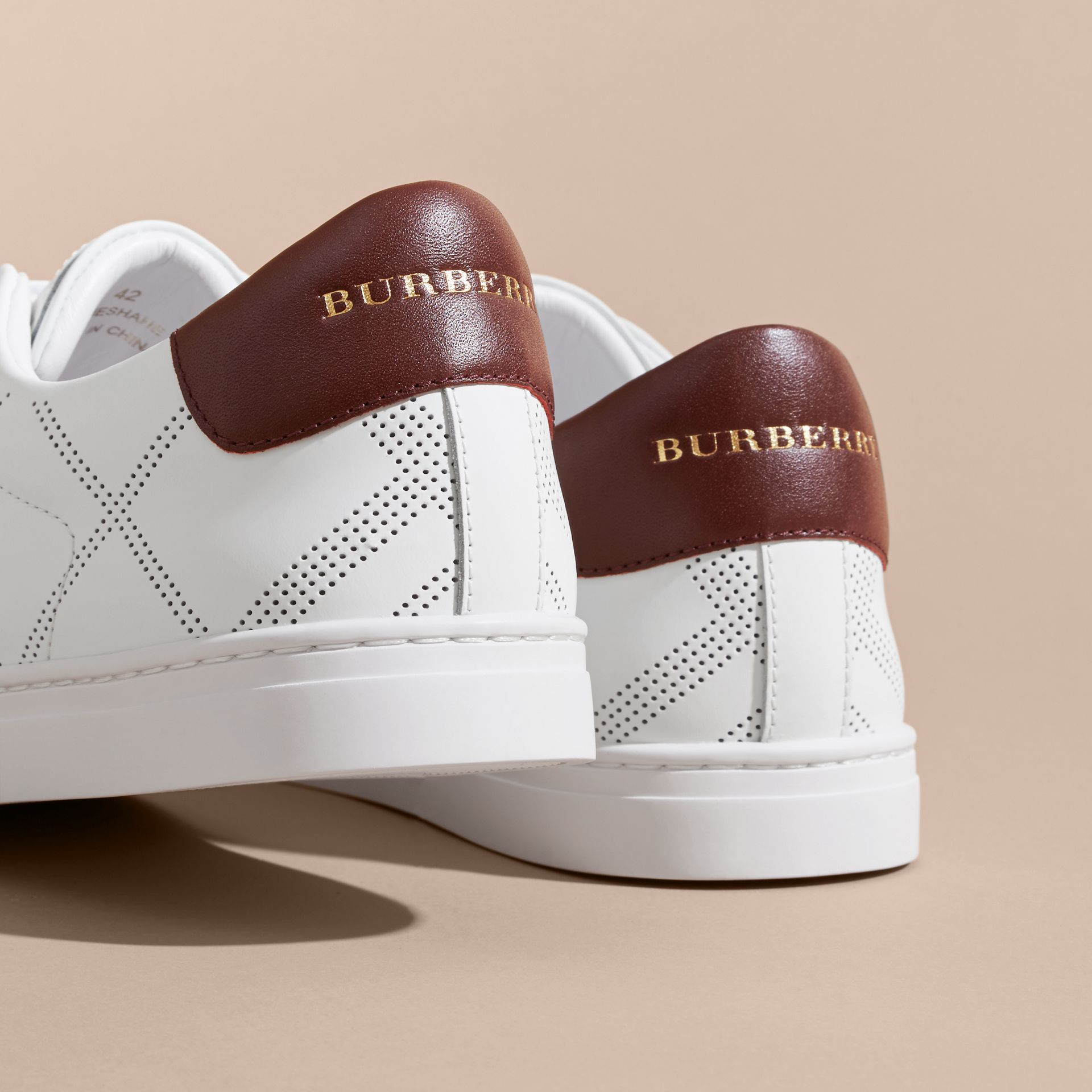 Perforated Check Leather Trainers in Optic White/deep Claret Melange - Men | Burberry - gallery image 4