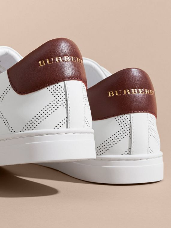 Perforated Check Leather Trainers in Optic White/deep Claret Melange - Men | Burberry - cell image 3
