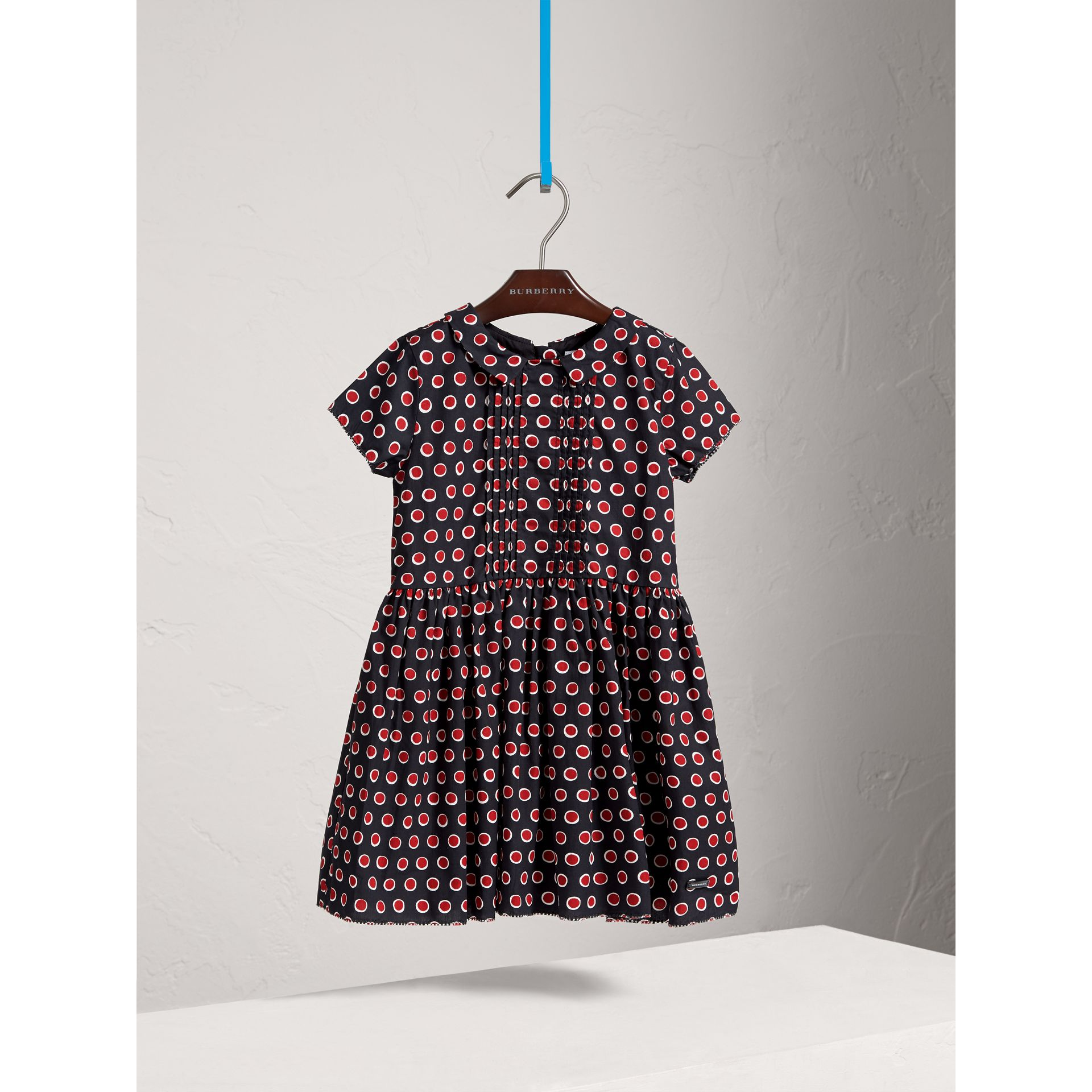 Pintuck Detail Spot Print Cotton Dress in Parade Red | Burberry - gallery image 0