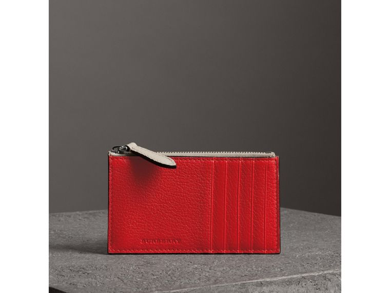 Two-tone Leather Zip Card Case in Bright Red | Burberry - cell image 4