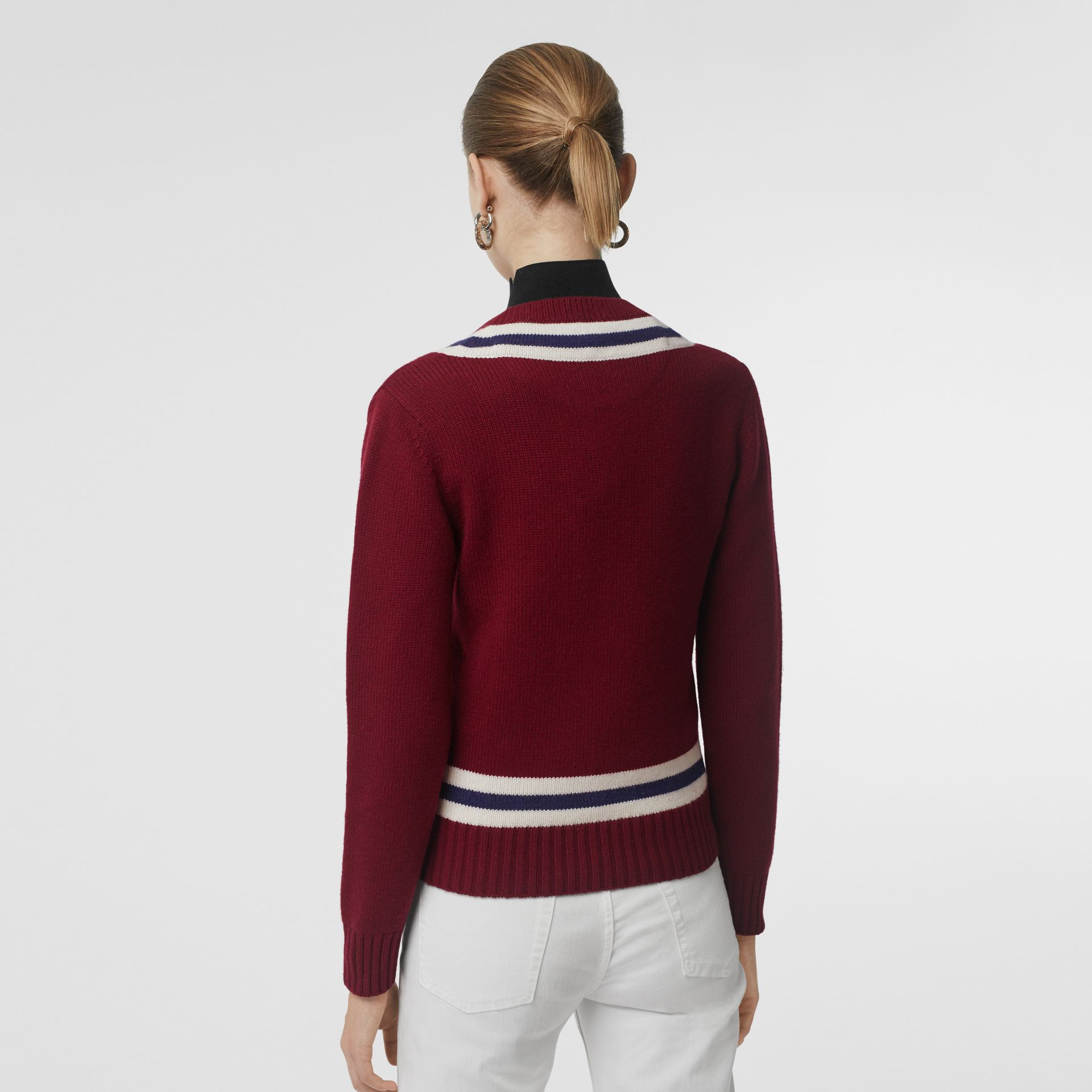 Embroidered Crest Wool Cashmere Sweater in Burgundy - Women | Burberry - gallery image 2