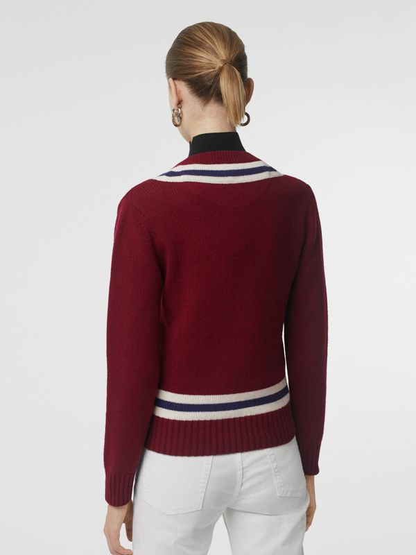 Embroidered Crest Wool Cashmere Sweater in Burgundy - Women | Burberry Australia - cell image 2