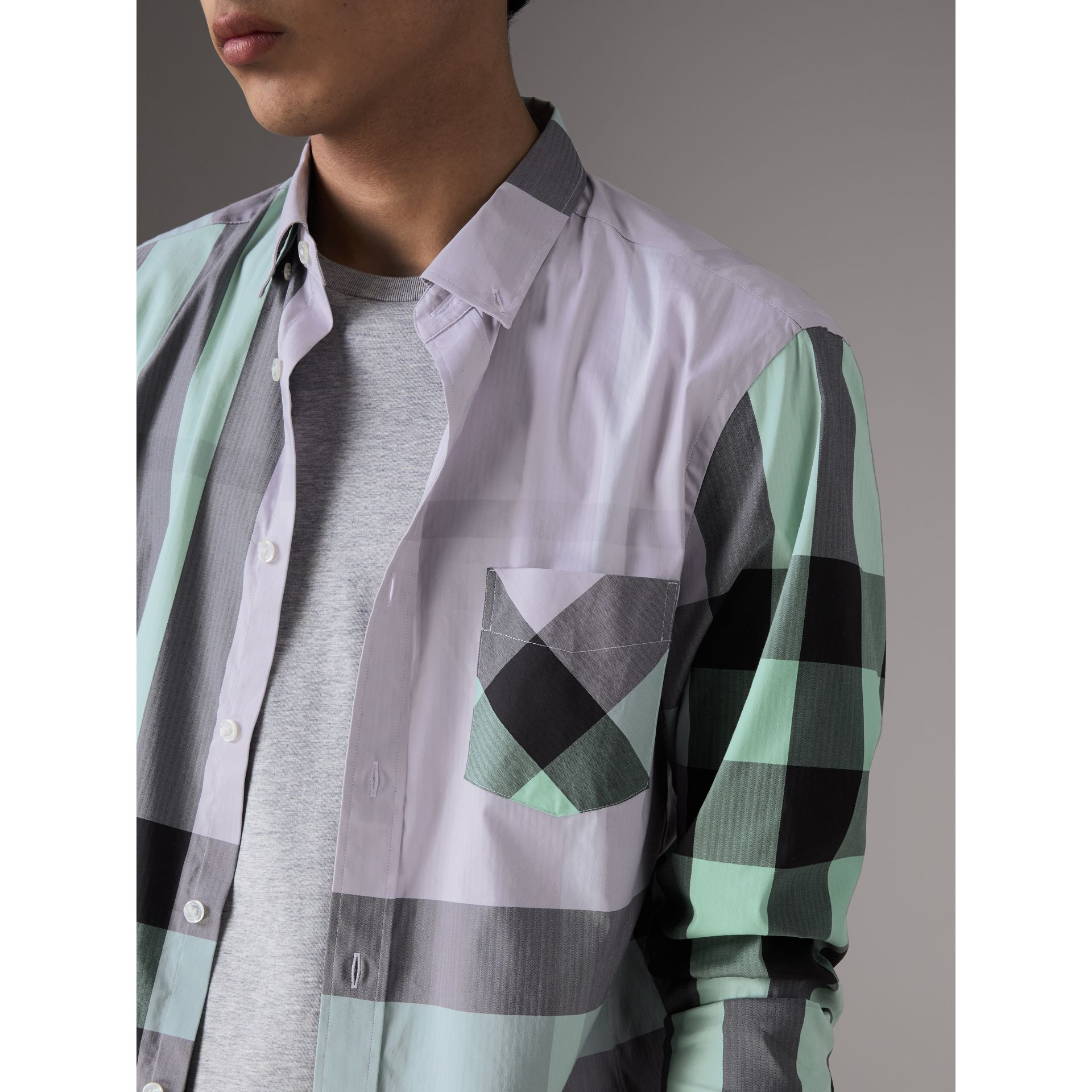 Button-down Collar Check Stretch Cotton Blend Shirt in Pale Lilac - Men | Burberry United States - gallery image 1