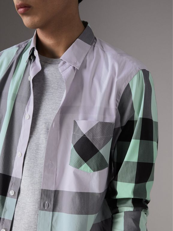 Button-down Collar Check Stretch Cotton Blend Shirt in Pale Lilac - Men | Burberry - cell image 1