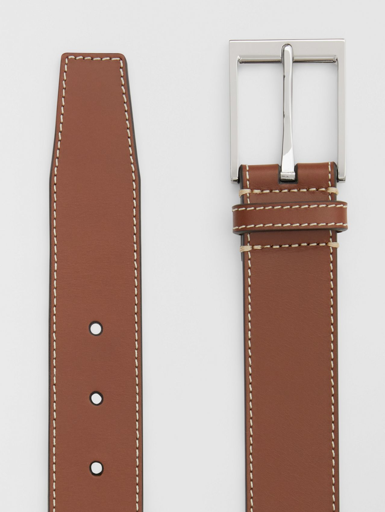 Topstitched Leather Belt in Tan