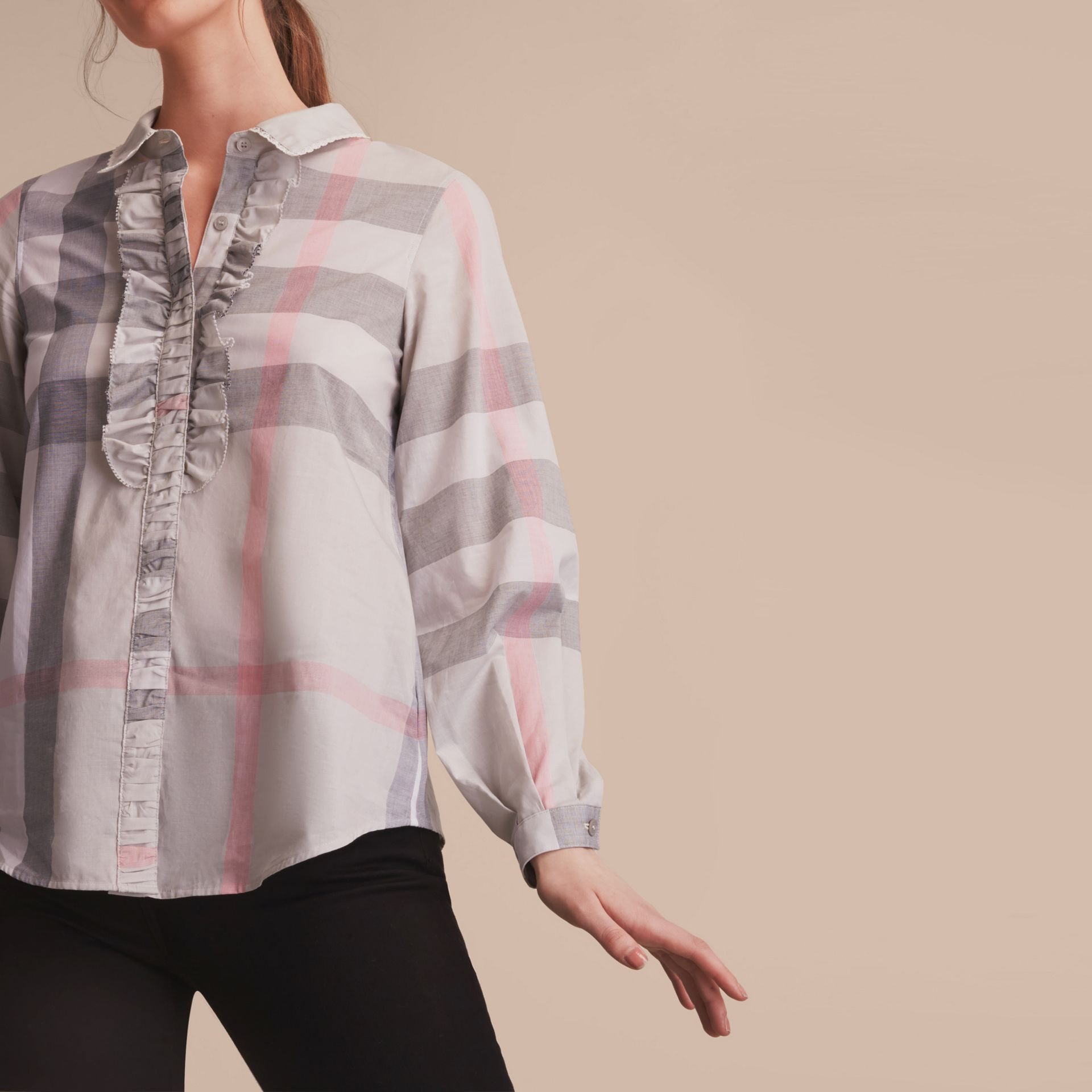 Ruffle Detail and Lace Trim Check Cotton Shirt Pale Taupe - gallery image 5