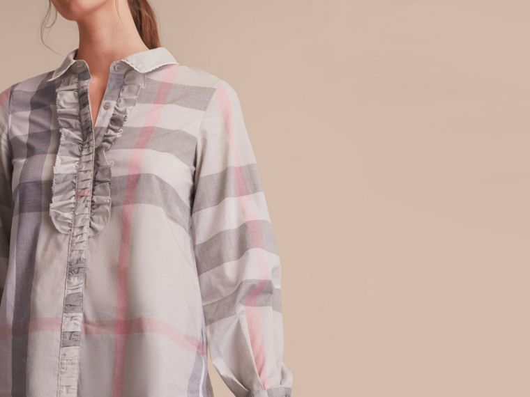 Ruffle Detail and Lace Trim Check Cotton Shirt Pale Taupe - cell image 4