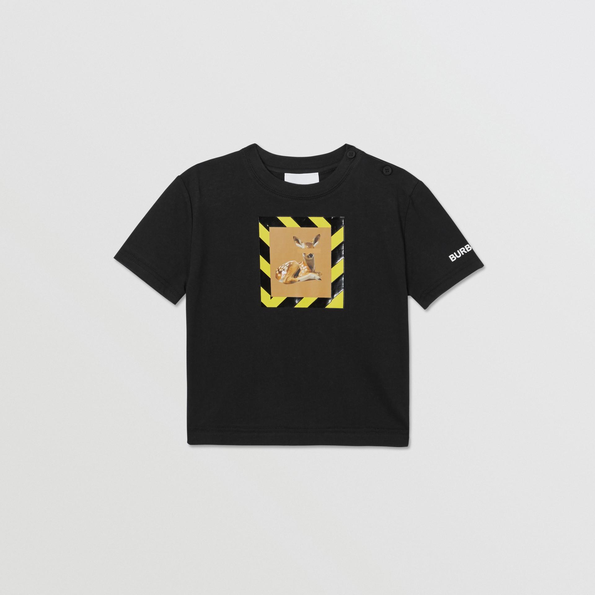 Deer Print Cotton T-shirt in Black - Children | Burberry Australia - gallery image 0