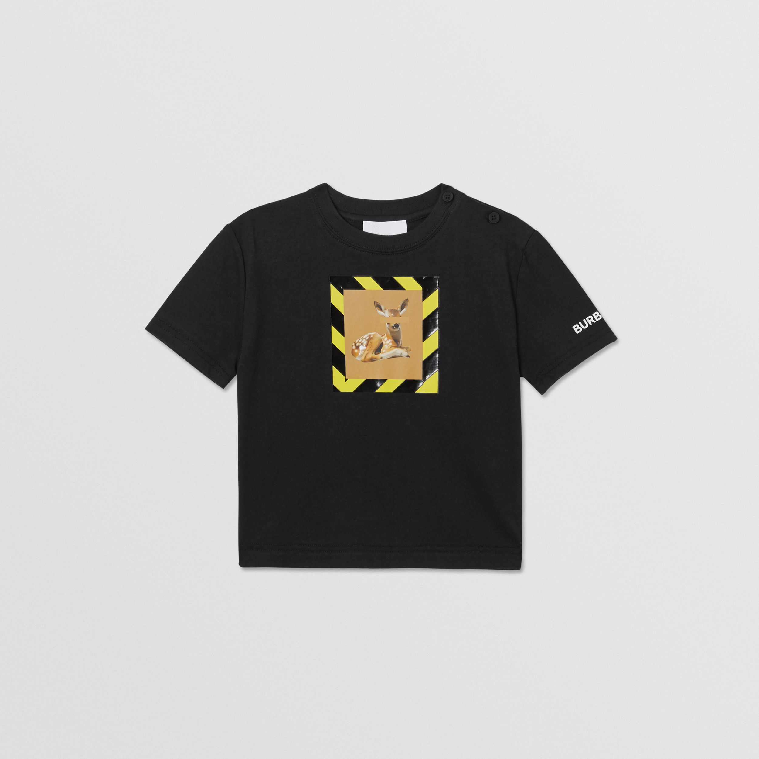 Deer Print Cotton T-shirt in Black - Children | Burberry - 1