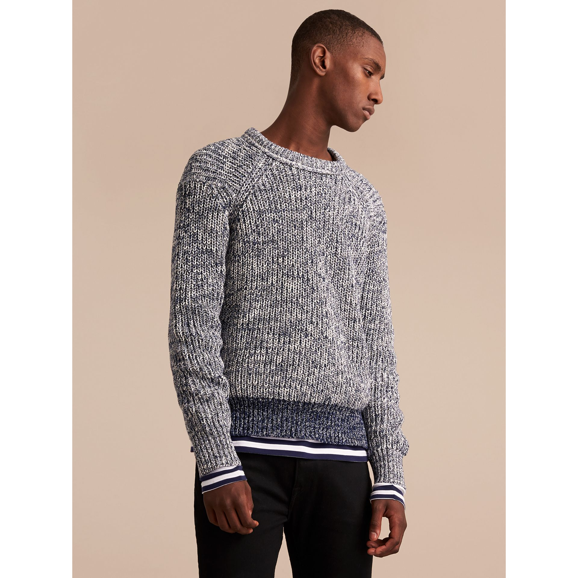 Chunky Knit Mouline Cotton Sweater in Bright Navy - Men | Burberry - gallery image 4
