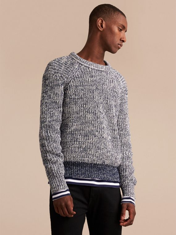 Chunky Knit Mouline Cotton Sweater in Bright Navy